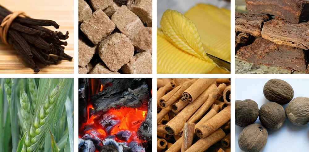Vanilla / Sugar / Butter / Peat / Barley / Campfire / Cinnamon / Nutmeg