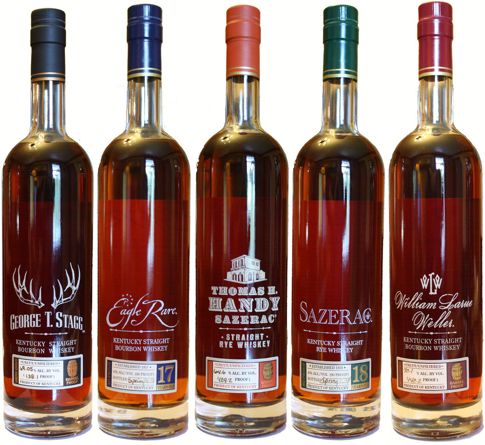 From left: George T. Stagg; Eagle Rare 17; Thomas H. Handy; Sazerac 18; William Larue Weller.