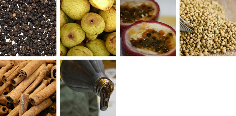 peppercorn / pear / passion fruit / cardamom / cinnamon / caramel