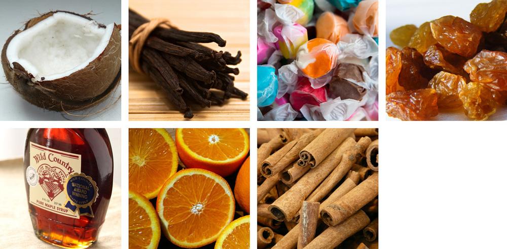 coconut / vanilla / taffy / raisin / maple / orange / cinnamon