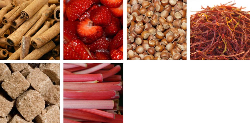 Cinnamon / strawberry / hazelnut / saffron / sugar / rhubarb