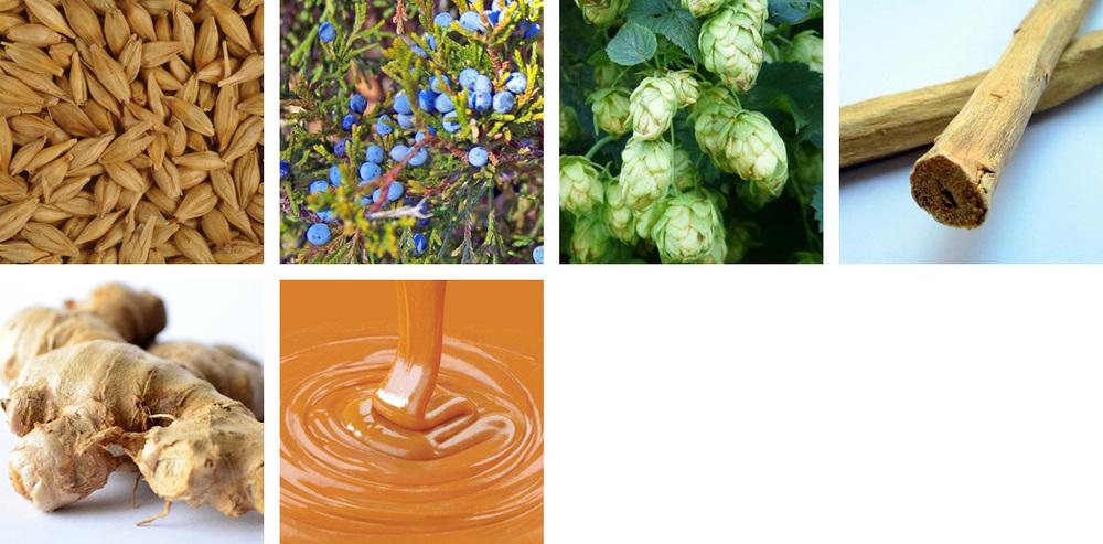malted grain / juniper / hops / licorice / ginger / caramel