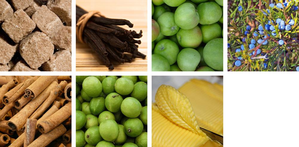 sugar / vanilla / apple / juniper / cinnamon / lime / butter