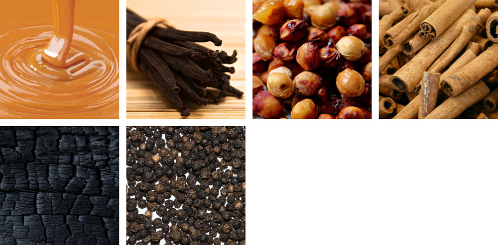caramel / vanilla / cherry pits / cinnamon / oak char / peppercorn