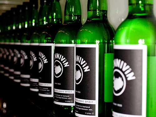 Brennivín lines the shelves at Keflavik Airport's duty-free shops. Credit: Bryndis Frid