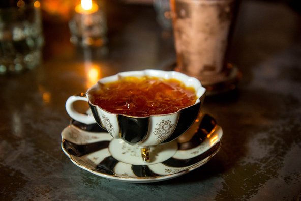 The 7th Regiment Punch, made from brandy, wine and raspberry, is served at the Eddy in antique teacups. Credit: Gabi Porter