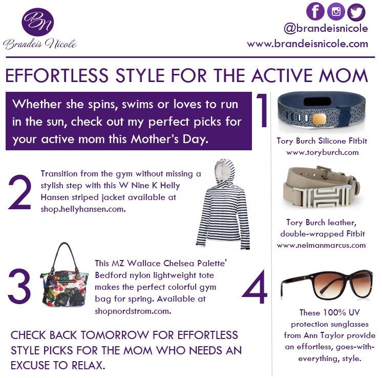 T  ory Burch Silicone Fitbit , $38;  Tory Burch Leather and Gold-Plated Fitbit , $175;  Helly Hansen Jacket , $150;  MZ Wallace Chelsea Bedford Tote  - color exclusive to Nordstrom, $315;  Ann Taylor Uptown Sunglasses , $68