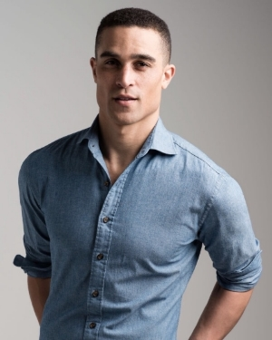 Blue Chambray Italian Indigo Custom Shirt  with Brown Sportshirt Button Styling