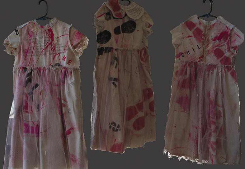 Raw Edges Dresses of Emotions,  Deborah McEvoy  (South Texas Annual Human Rights Art Exhibit, Permanent Collection)