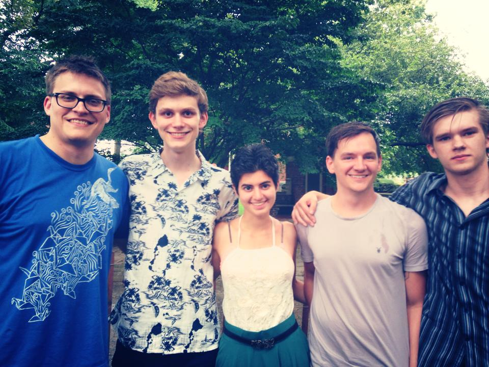 From left to right: contributor J. Scott Brownlee, Founder & Editor-in-Chief Peter LaBerge, Poetry Editor Talin Tahajian, contributor Sam Ross, and Poetry Reader Caleb Kaiser.