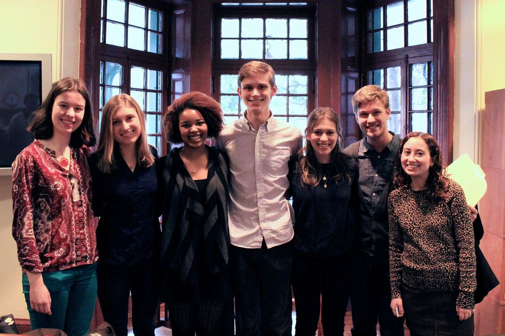 From left to right: Luisa Banchoff (Princeton, '17), Alina Grabowski (Penn, '16), Camara Brown (Penn, '17), Peter LaBerge (Penn, '17), Lydia Weintraub (Princeton, '18), Richie Hofmann, and Emily Sheera Cutler (Penn, '15).