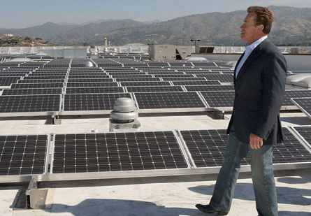 The Governator checking out solar panels in California.  Source:   David McNew  - Getty Images