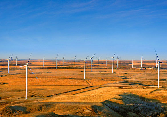 Source: SaskPower.   Horizontal Axis Wind Turbines (HAWTs) at SaskPower's Centennial Wind Facility in Southern Saskatchewan. The entire facility has a net capacity of 150 megawatts and was built in 2006. Each turbine is 80 metres tall and has a capacity of 1.8 megawatts i.e. 36 times greater than the 1978 VAWT outside of Swift Current.