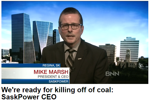 SaskPower doesn't seem too bothered. Business News Network interview with SaskPower CEO, Mike Marsh.  24-Nov-2016