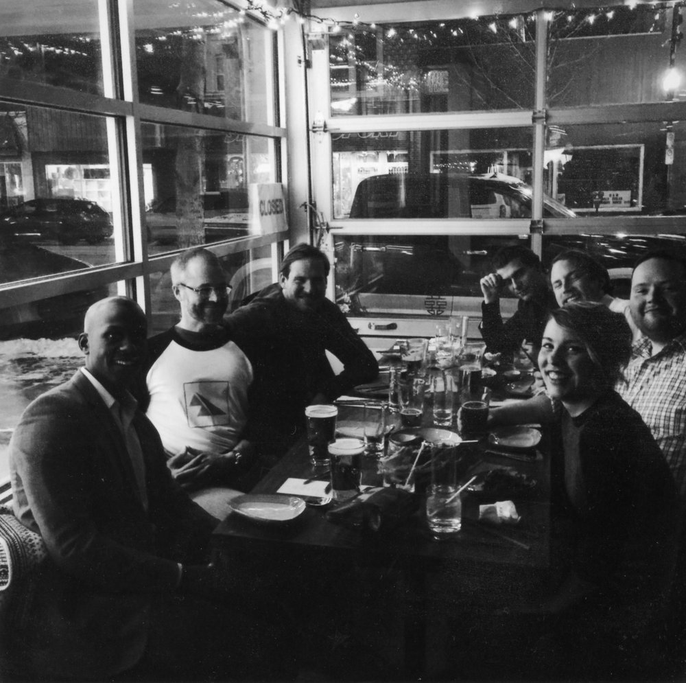 4 December 2014. SaskWind board meets for Christmas Dinner (and a fundamental strategy re-think) at the Odd Couple in Saskatoon's Riversdale. Little did we know that our major policy initiative from that meeting (20% wind by 2030) would be adopted by SaskPower less than a year later.