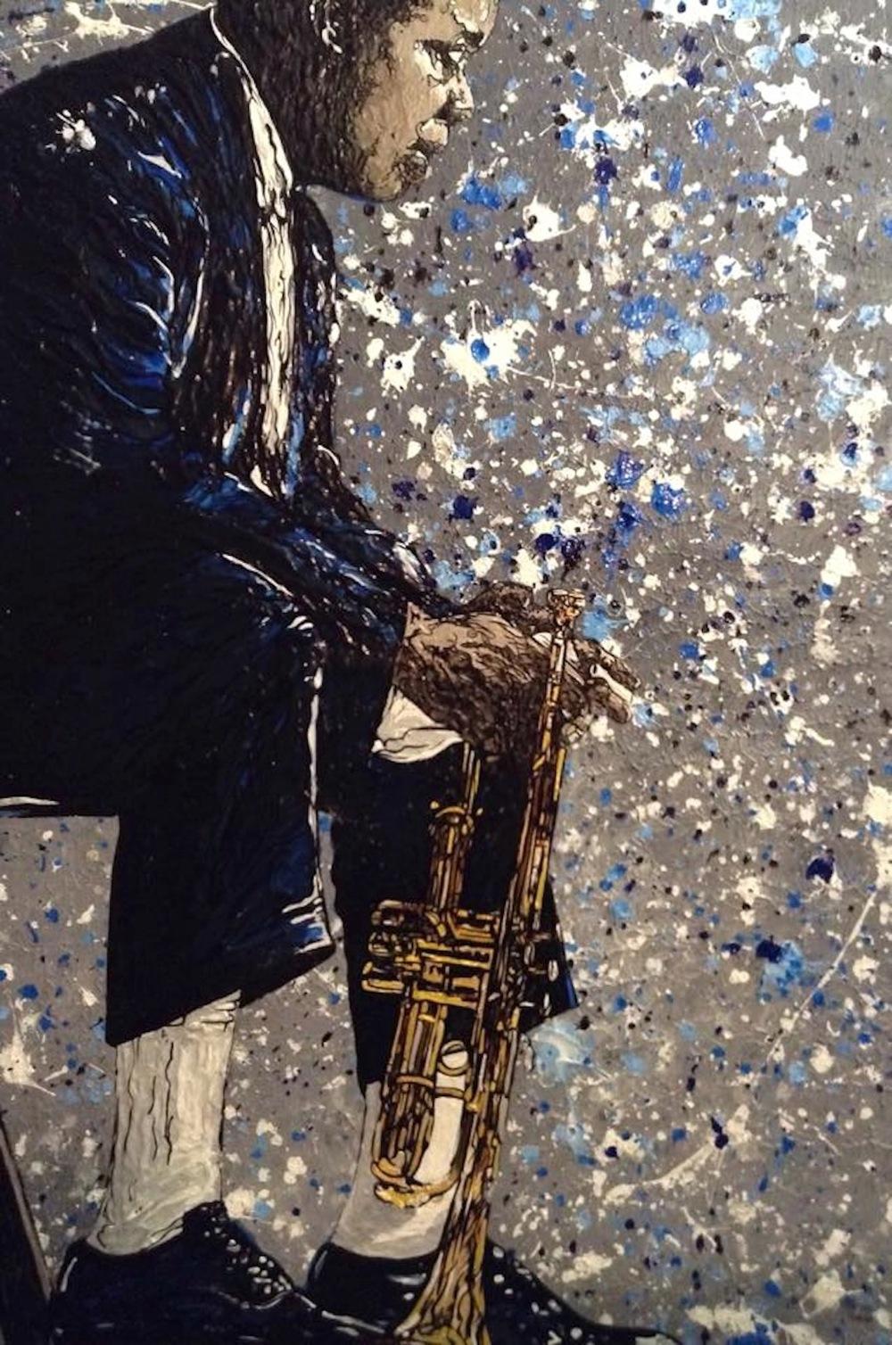 "Satchmo  (Louis Armstrong) 2015 acrylic on canvas 16"" x 20"""
