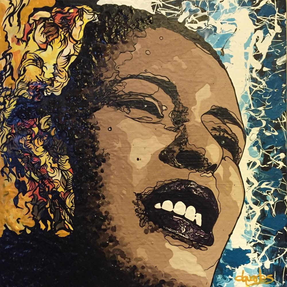 """Billie Holiday  2015 acrylic on canvas 12"""" x 12"""""""