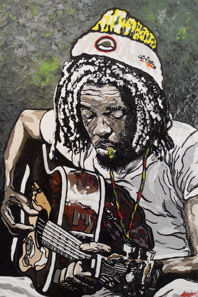 "Peter Tosh  2014 acrylic on canvas 24"" x 36"""
