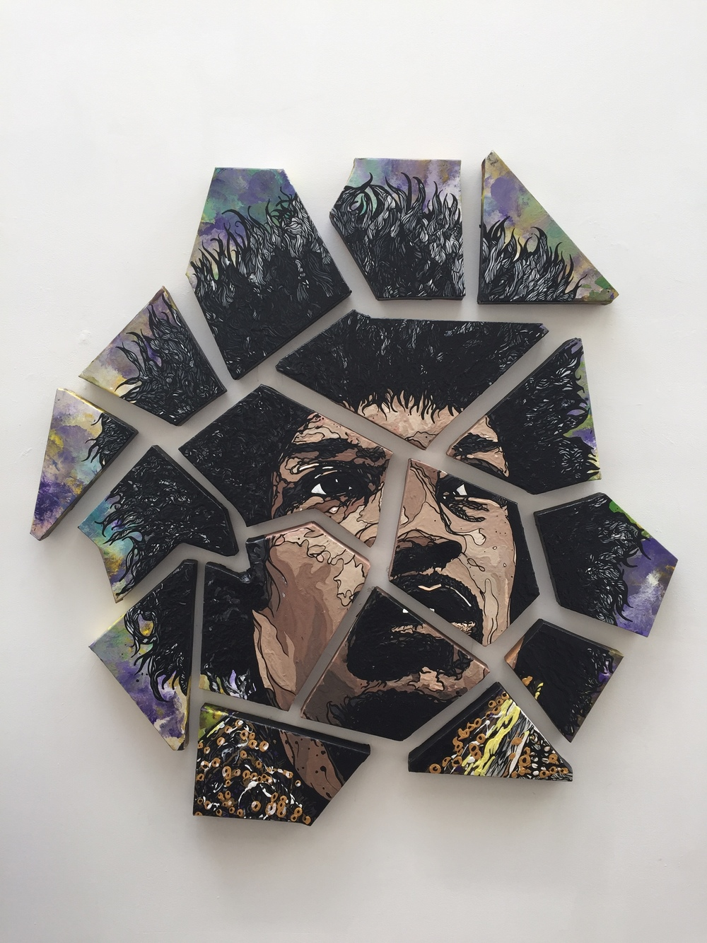 "Jimi Hendrix  2015 acrylic on 17 individually constructed canvas pieces 50"" x 50"" (estimated)"