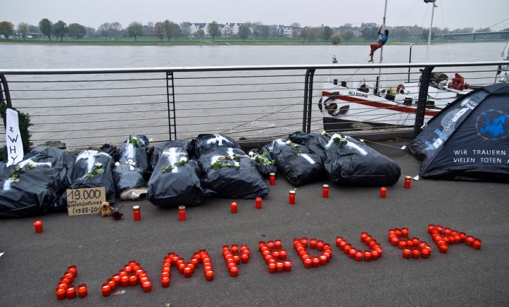 "Protest Art Artivisme ""Lampedusa ist here""  (2014), photograph"