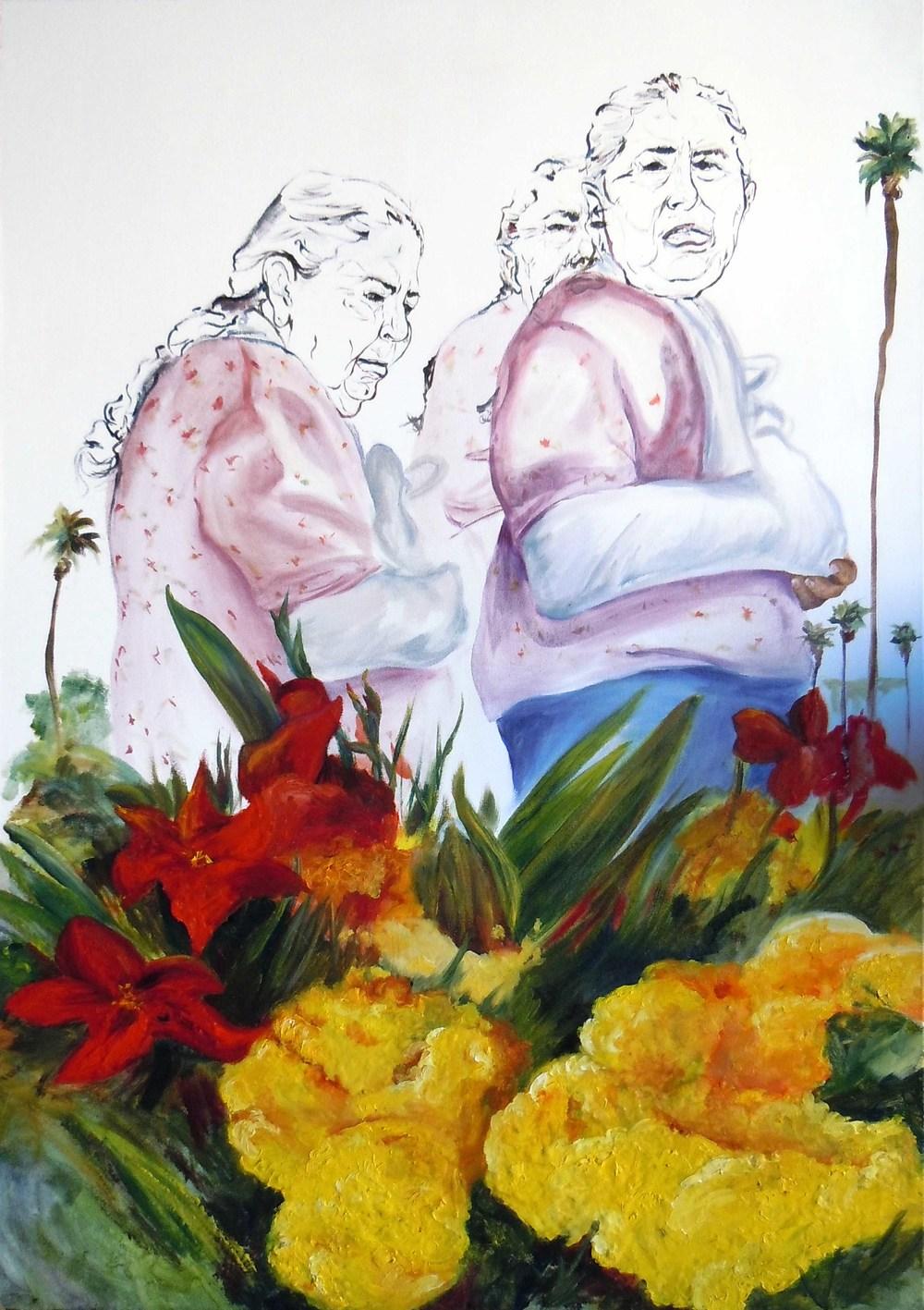 Tonantzin, la vieja Xochiquetzal o Día de difuntos  2011 mixed media on paper 140 x 98 cm