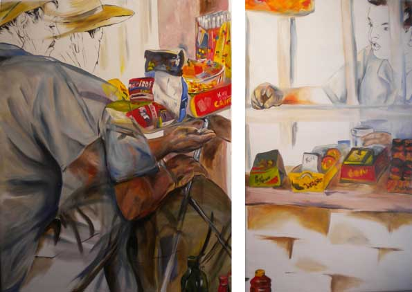 Vendedor de Churches  (diptych) 2010 oil on canvas 81 x 110 cm / 65 x 110