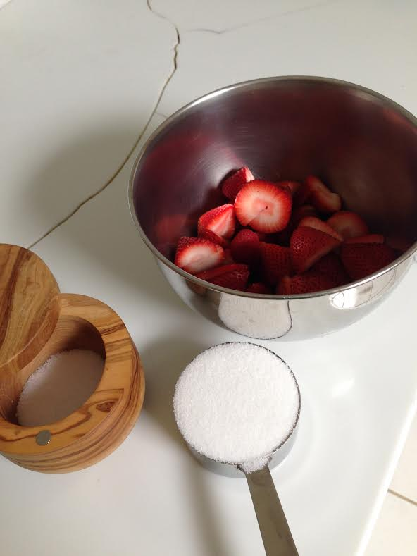 Start with fresh fruit, chopped up, and have the recipe amount of sugar and salt at the ready.