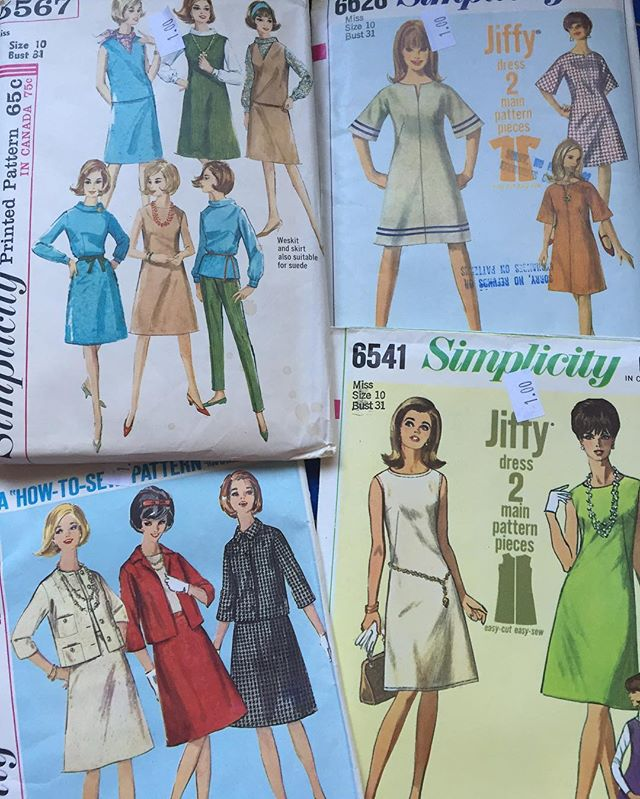 This week's #estatesale find. Feeling right at home with these. #pattern #dress #groovydresses #vintage #retro #sixties #sewing #dresspattern