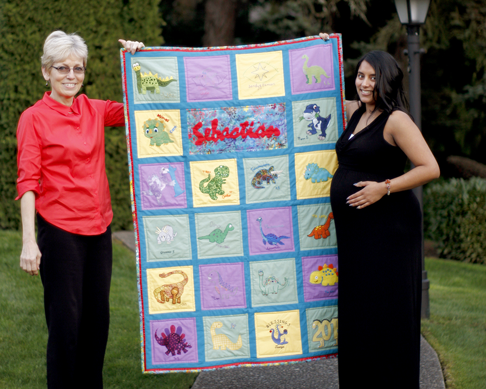A hand made quilt for baby Sebastian by Chelsea's talented family.