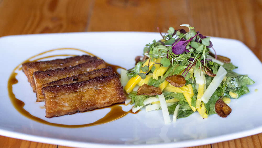 Pork Belly with Mango Daikon Salad.