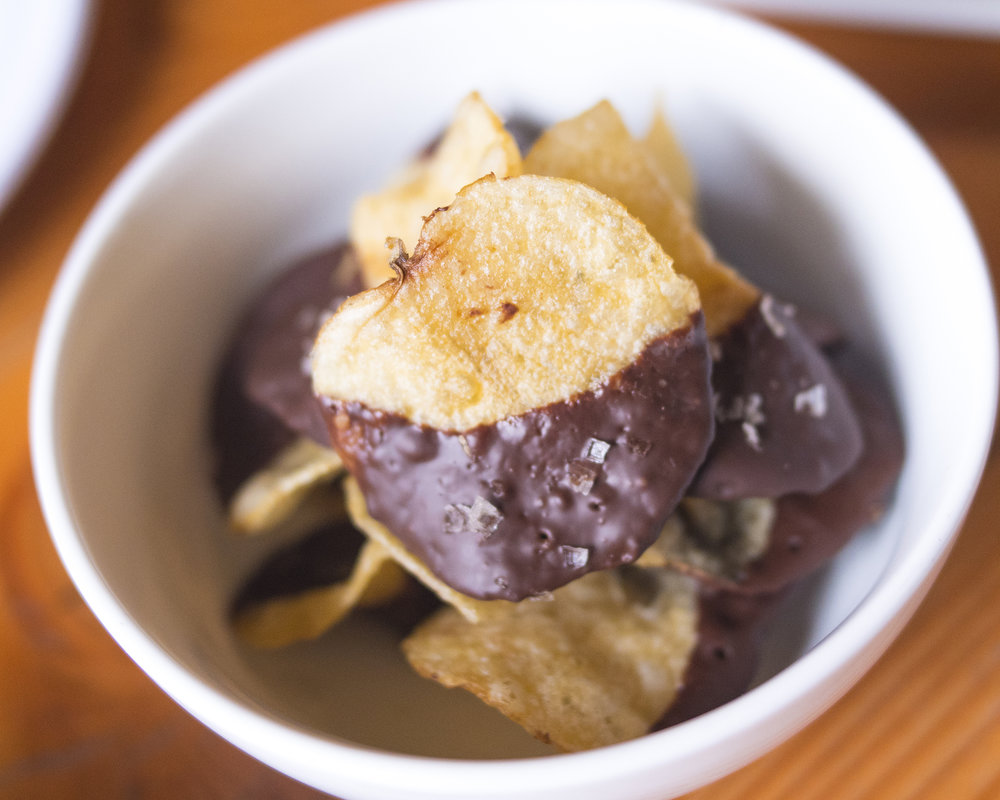 Chocolate Covered Potato Chips. Each chip is hand dipped, proving my 'perfect bite' point about this place.
