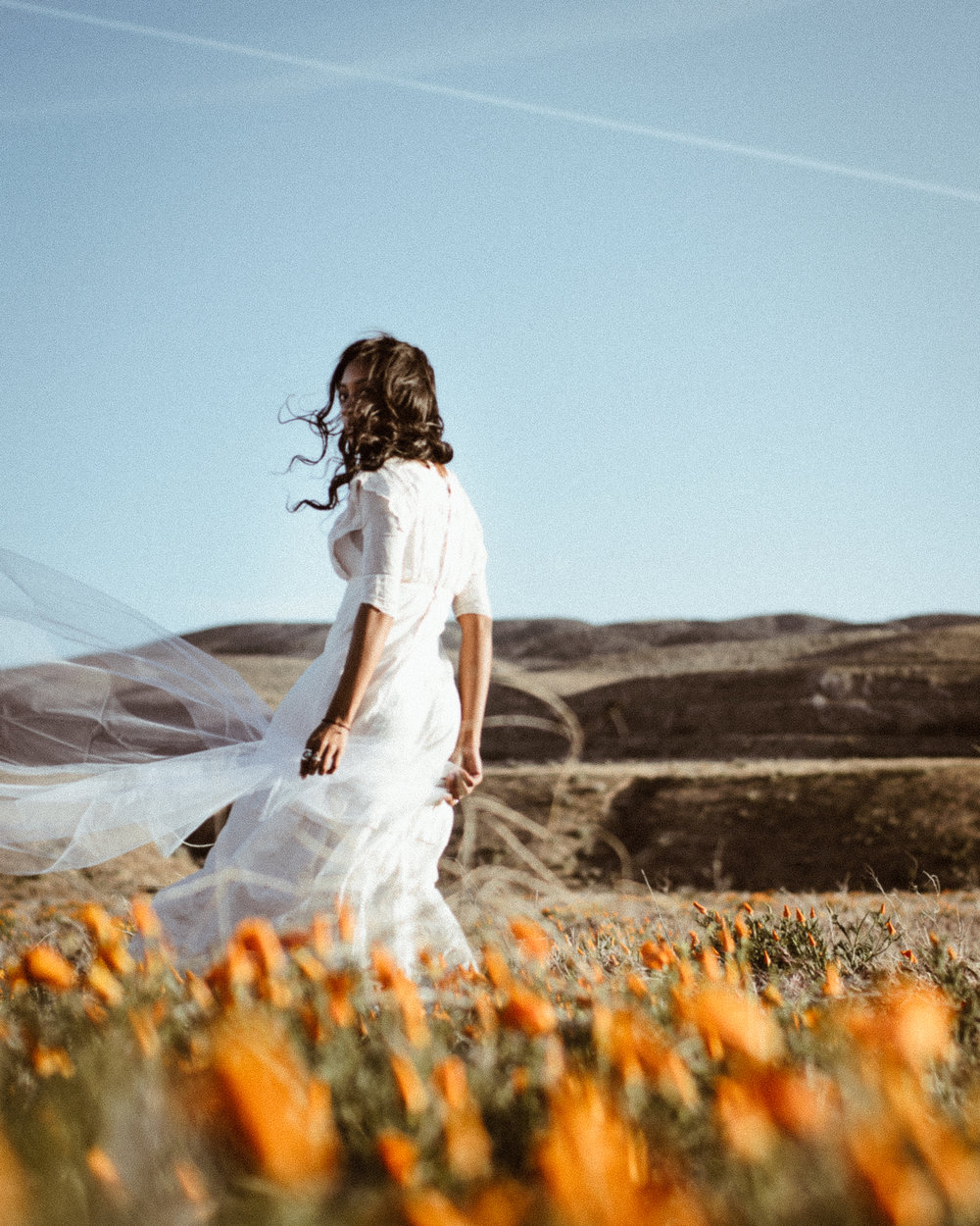 Fashion Editorial Antelope Valley California Poppy Vintage Wedding Dress Los Angeles Photographer Miranda Kelton Photography