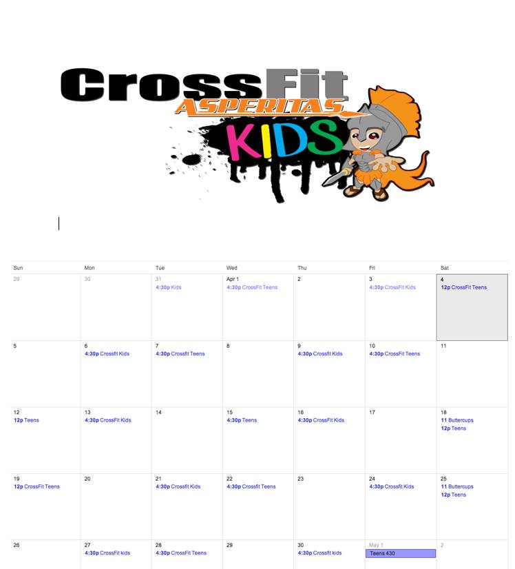 April 2015 CrossFit Kids Schedule