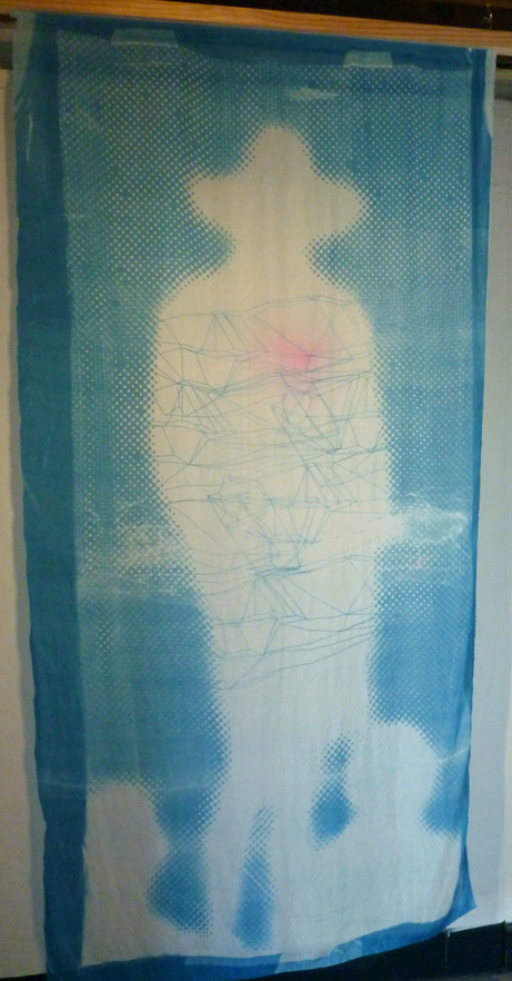Omnipresence,   cyanotype and acrylic on silk,    Stacie Rose