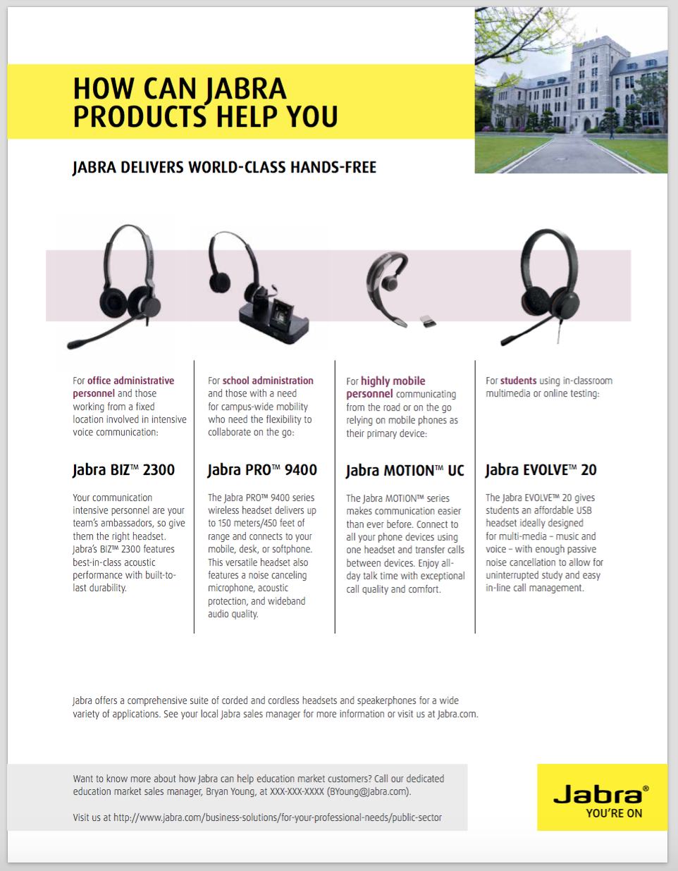 BACK: Jabra Public Sector Sell Sheets. Designed for each of the Public Sectors: Federal, State, Education & Healthcare.