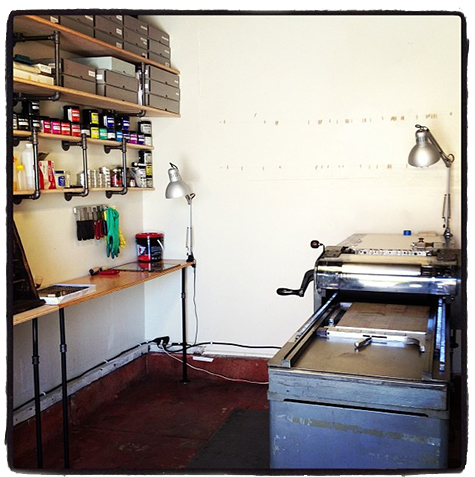 My beautiful vintage Vandercook cylinder press, 'Eleanor,' and the tiny studio where the magic happens