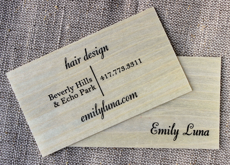 Business cards branding after nostalgia press emily luna business card screenprint in gold ink on extra thick fragrant rosewood veneer reheart Gallery