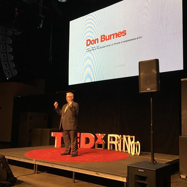 """""""Vast majority of homeless are mothers with children sleeping in cars. Youth exiled by parents. Veterans with PTSD. People with severe mental illness."""" Don Burnes #TEDxRiNo #TEDxRiNoOrigins"""