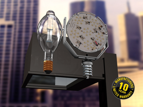 Our 95 watt replaces a 400 watt MH, & provides more light, no maintenance.