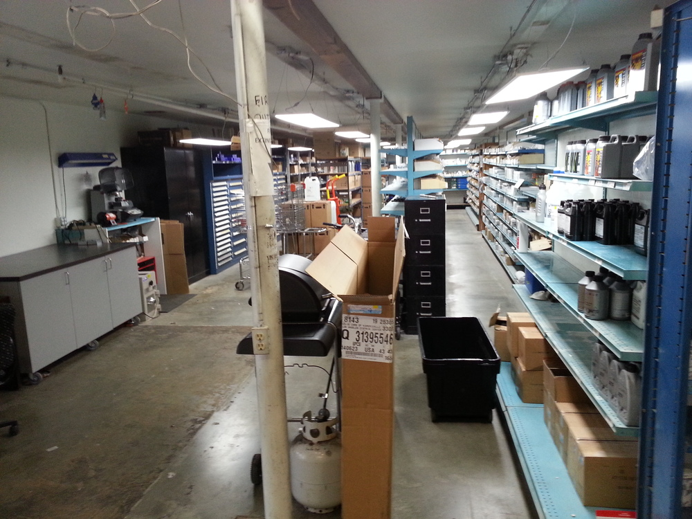 Our 1'X4' LED panels are hung from the ceiling in this parts department. They provide better lighting than the fluorescent tubes they had. Still reducing energy usage by 70% with many years of no maintenance.
