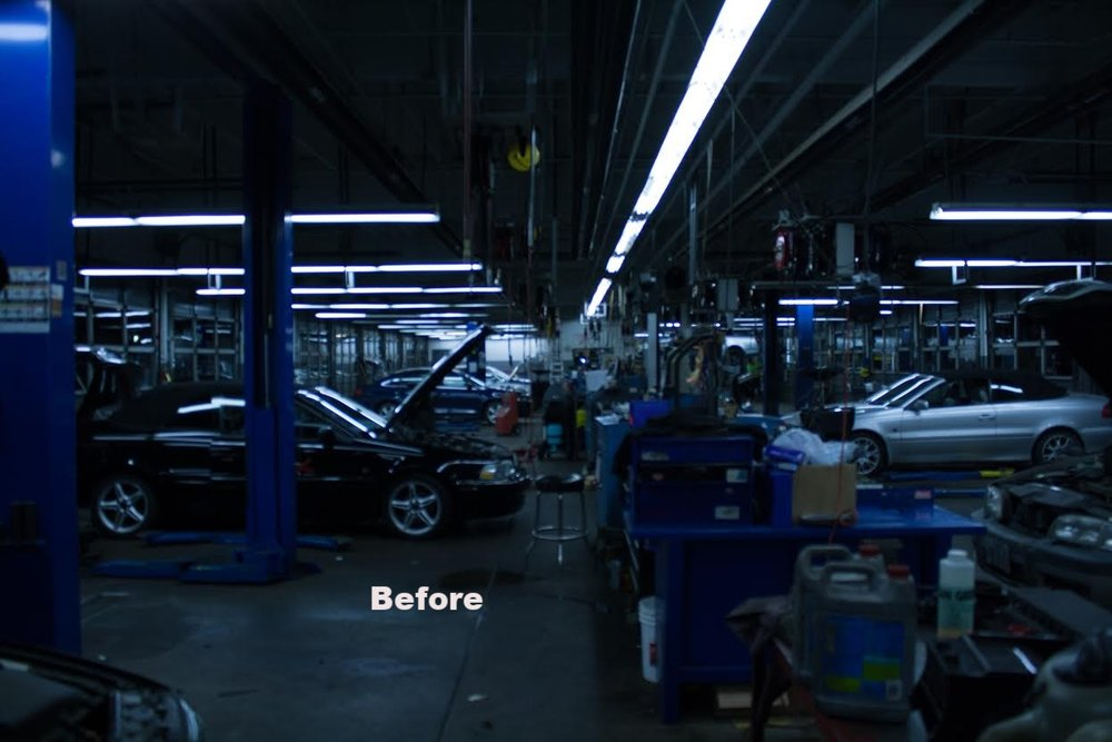 Before: All fluorescent tubes. Mechanics auto shop. Lighting measurement were 32 to 45 foot candles.