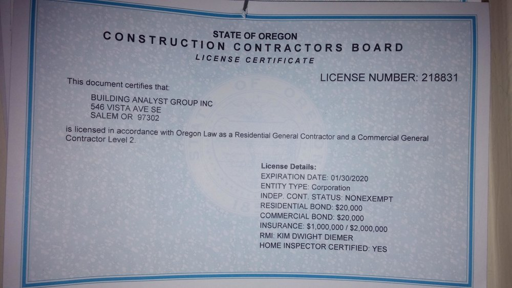 Copy of CCB Oregon Contractors License & Inspection