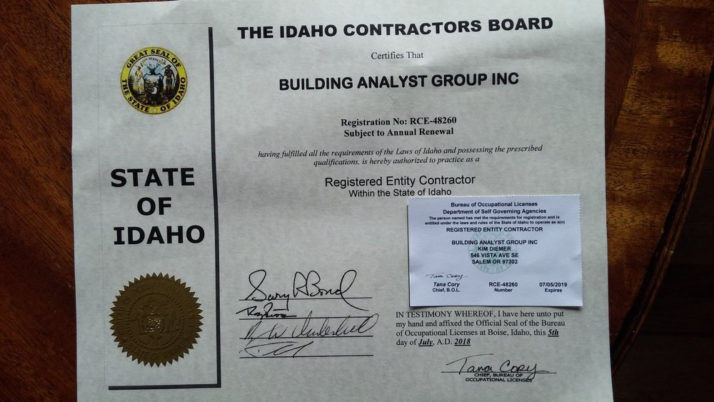 Copy of Idaho Contractors License