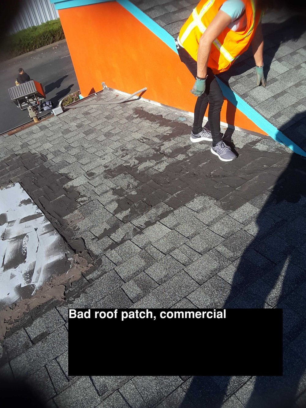 Wife inspecting roof