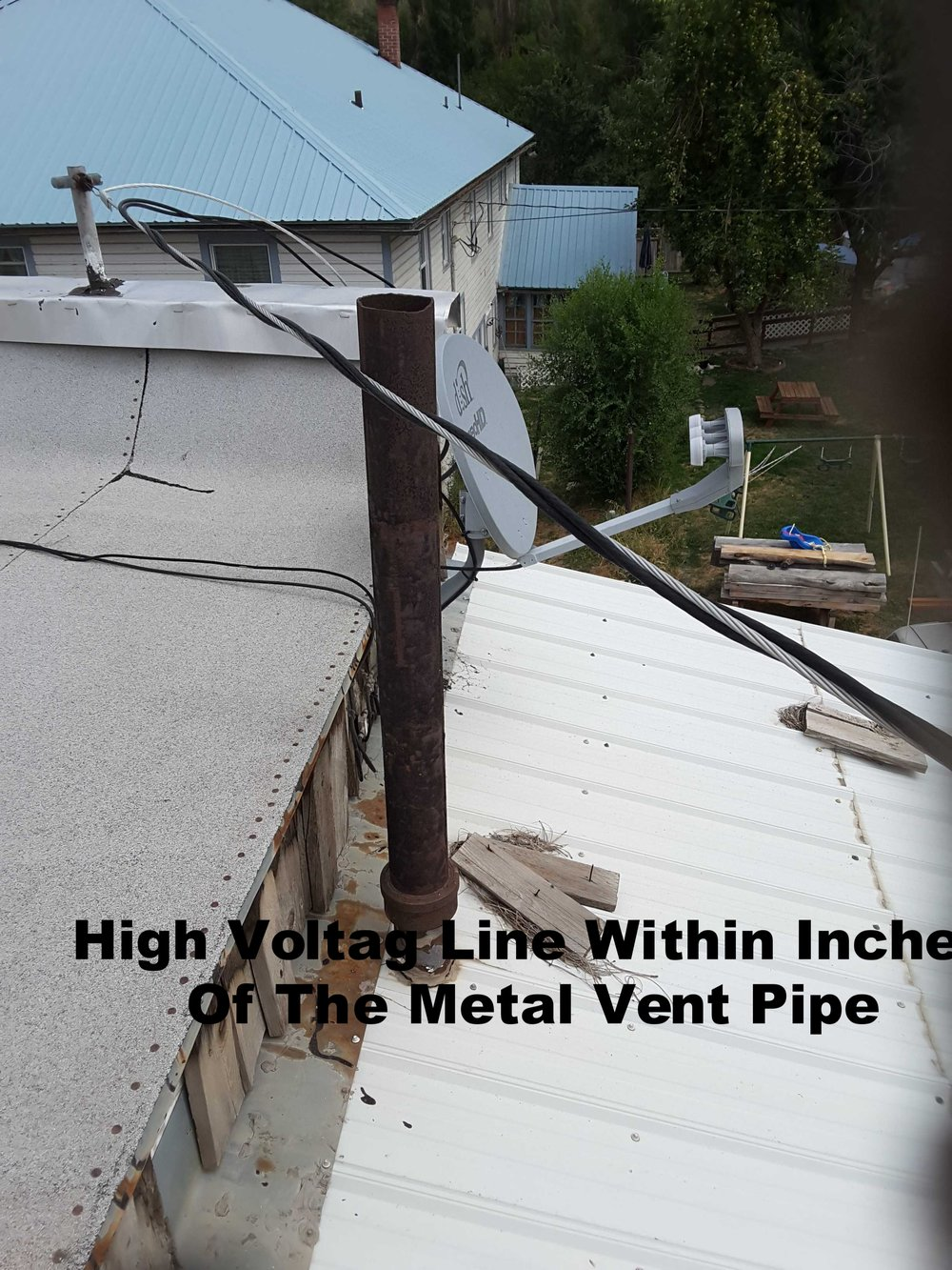 Hard To Believe - Very possible this high voltage line could entergize all of the metal fixtures and countertops in this restaurant