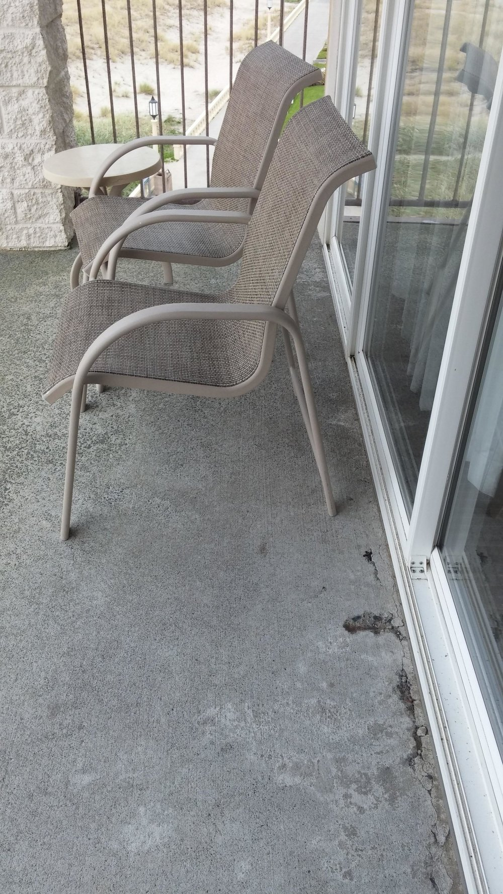 Crack in concrete 5th floor balcony - This could present a problem!