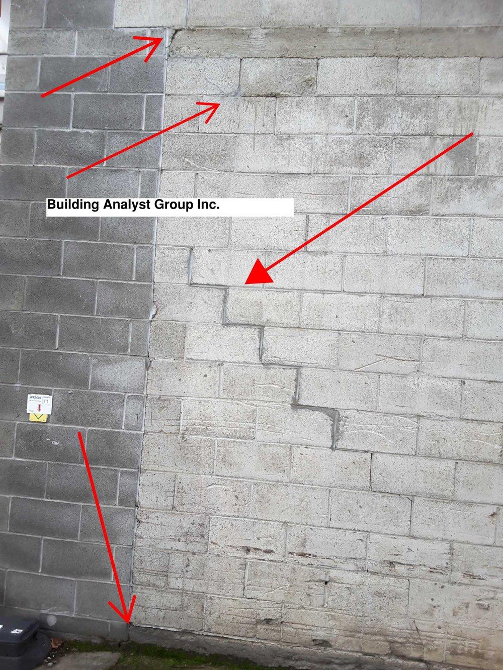 Concrete Block Wall, Step Crack -