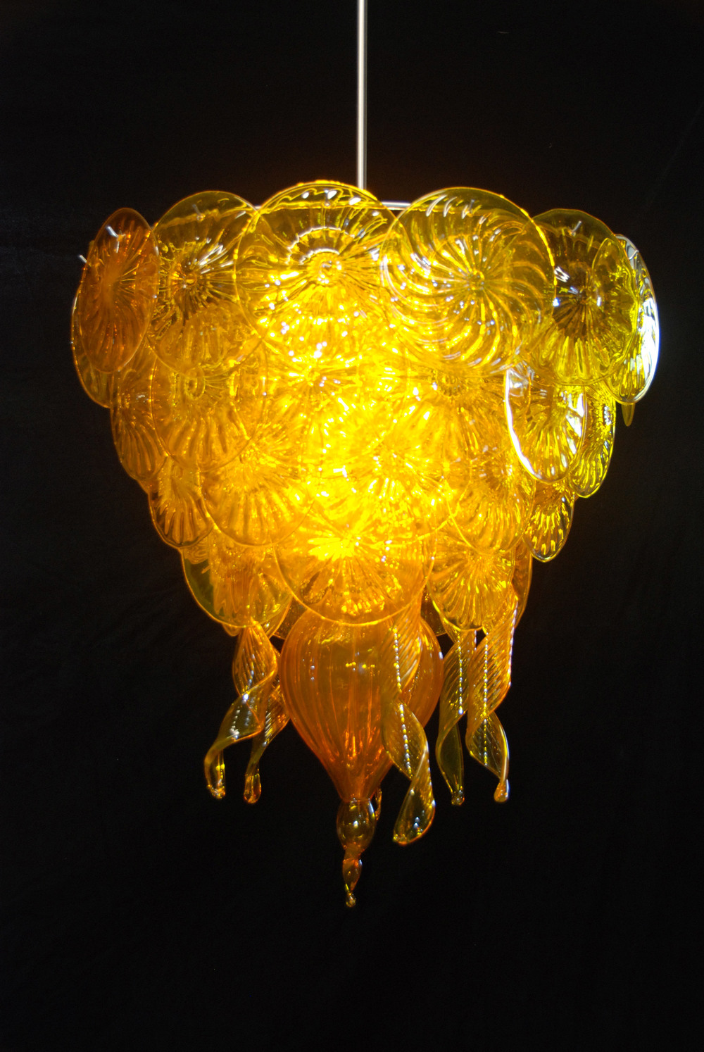 Tangerine Cathedral Rondel chandelier