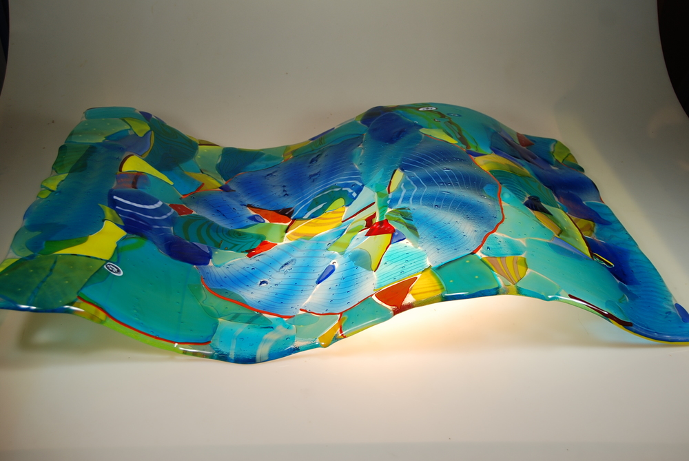 "Fused Glass Wave Panel 24"" x 36"""