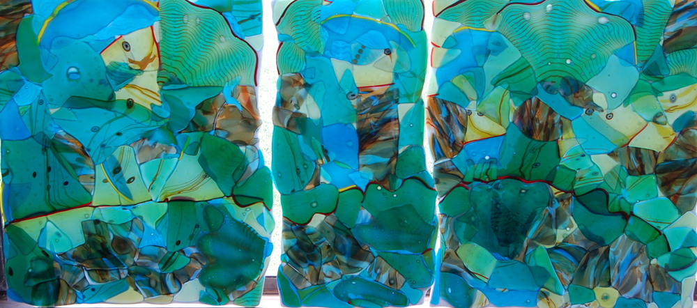triptych in Aquarium glass,  Adventures in Paradise. 2014